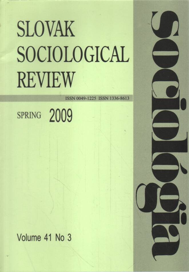 Časopis - Slovak sociological review 2009 (2 čísla)