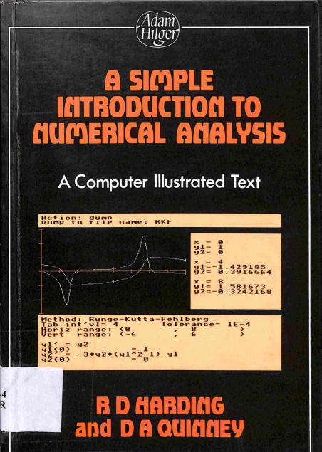Harding D.R. - Quinney A.D. - A simple introduction to numerical analysis