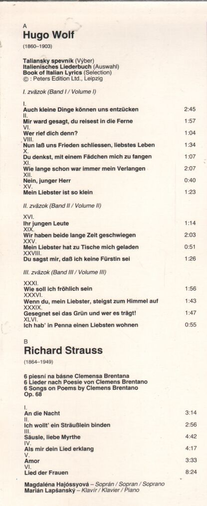 Hugo Wolf - Richard Strauss - Book of Italian Lyrics - 6 Songs on Poems by Clemens Brentano ilustr.1