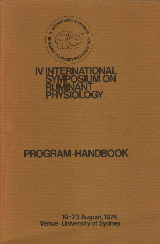 Neuvedený - Program-Handbook: IV. International symposium on ruminant physiology